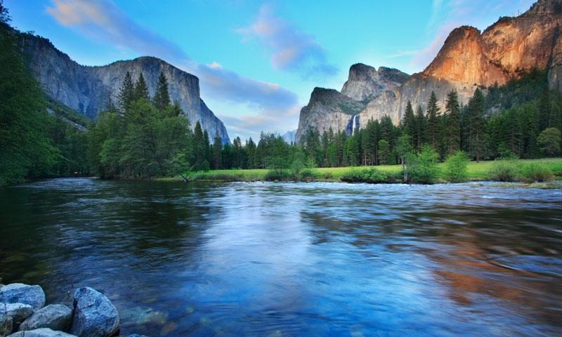Merced River beneath Cathedral Rocks in Yosemite National Park