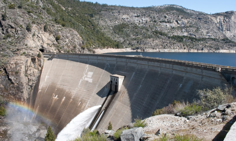 The OShaughnessy Dam at the Hetch Hetchy Reservoir