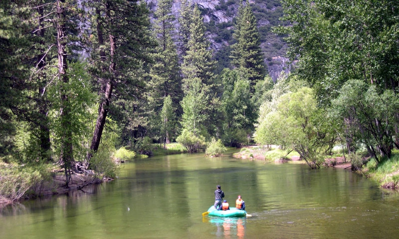 Rafting along the Merced River in Yosemite National Park