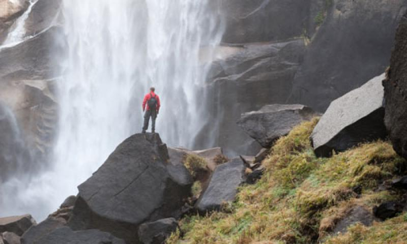 Standing beneath Vernal Falls in Yosemite National Park