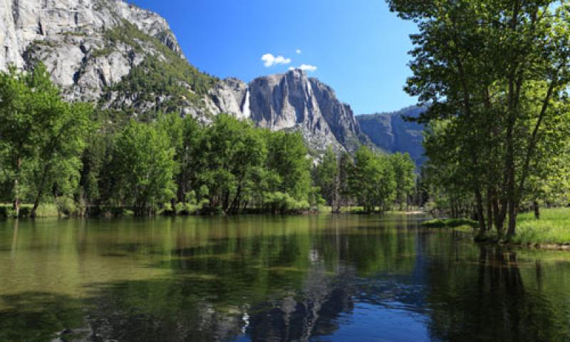 View of Merced River from Sentinel Beach in Yosemite